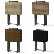 Farmhouse Tv Tray Folding Table Set With Stand, 5-piece, 4 Color Choices