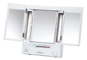 Jerdon Tri-fold Two-sided Lighted Makeup Mirror With 5x Magnification White