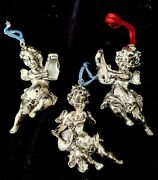 3 Vintage Antique Silver Plated Cherub Ornaments Playing Musical Instruments