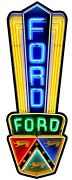 Ford Sign 24 Tri Color Neon Style Sign In Steel Metal Jubilee Truck Garage Auto