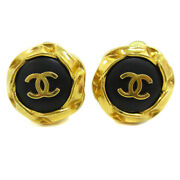 Cc Button Motif Earrings Gold Black Clip-on 96a Accessories 38961