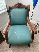 Vintage Antique Hand Carved Early Victorian Eastlake Solid Hardwood Arm Chair