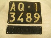 2x Italy L'aquila 1957 Vintage Aq 13489 Rare License Plates And Documents