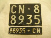 2x Italy Cuneo 1962 Vintage Cn 88935 License Plates And Registration Documents