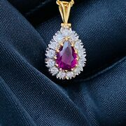 Gorgeous 18ct 18k 750 Gold Ruby And Diamond Cluster/pear Pendant London 1979