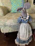 Vintage Doll Mouse With Dress On A Kitchen Broom/ Witch Broom
