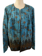 Nwt Coldwater Creek Womens Open Front Teal Black Medallion Jacket Size 20 1x