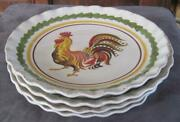 4 2010 Williams Sonoma Tuscany Rooster 8.75 Plates Made In Italy