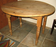 Antique Scrubbed Pine Wooden Drop Leaf Kitchen Dining Table Ireland