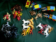 Western Vintage 50s 60s Toy Lot Covered Wagon Figure Cowboy Indian Horse Lyea251
