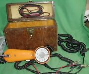"""Vintage Complete, With Box Rotary Dial """"gte"""" Lineman's Test Phone Handset Orange"""