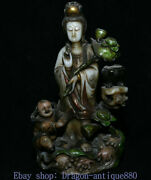 9 Chinese Natural Shoushan Stone Painted Carved Stand Kwan-yin Boy Sculpture
