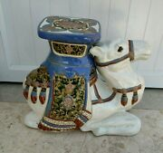 16.5 Rare Antique Large Ceramic Camel Side Table Plant Stand Stool 42cm 1960s