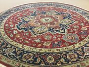 7' X 7' Red Navy Blue Round Traditional Geometric Hand Knotted Wool Oriental Rug