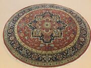 7' X 7' Rust Navy Blue Round Geometric Hand Knotted Wool Oriental Rug Foyer