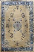 Antique Beige Art Deco Nichols Chinese Oriental Area Rug Hand-knotted Wool 11x13
