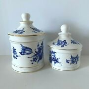 Set Of 2 Bone China Jars White And Blue Floral By Newhall Staffordshire Engand