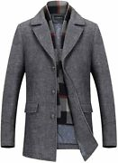 Invachi Menand039s Slim Fit Winter Warm Short Wool Blend Coat Business Jacket With Fr
