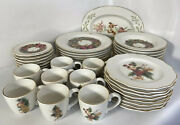 Disney Christmas Wreath China Set Service For 8 41 Piece Plate Bowl Cup 24k Gold