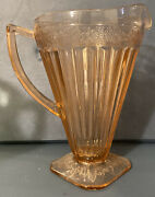Vintage Jeannette Pink Depression Glass Adam Pattern Square Footed Pitcher