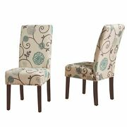 Richland Contemporary Fabric Dining Chairs Set Of 2 Light Beige With Blue Flor