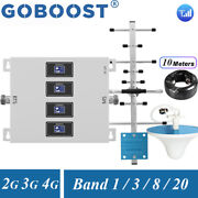 800/900/1800/2100mhz Cell Phone Signal Booster 2/3/4g Data Voice Repeater Set