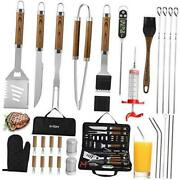 30pcs Bbq Grill Tools Set With Thermometer And Meat Injector. Extra Thick Grey