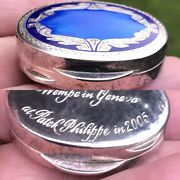 Antique Sty Enamel Solid Silver Pill Snuff Box From Patek Philippe Watch Maker