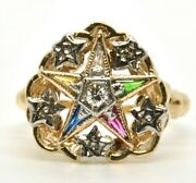 Ladies Vintage 10k Yellow Gold Order Of The Eastern Star Diamond Fraternal Ring