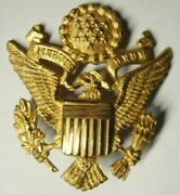30s / Ww2 Us Army Officer Hat Badge - Luxenberg New York Made In England - Sb