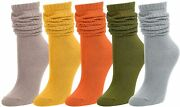 Zmart Women's Striped Slouch Crew Socks, Soft Knitted Colorful Vintage Cotton So