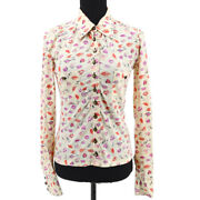 Lips Front Opening Long Sleeve Tops Shirt White Pink 38347