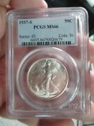 1937-s Walking Liberty Half Dollar Pcgs Ms 66 Mint State Certified Graded Coin