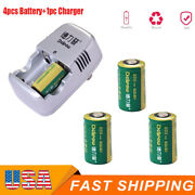 4pcs Cr2 3v 800mah Li-ion Rechargeable Battery W/1pc Charger For Photo Camera Us