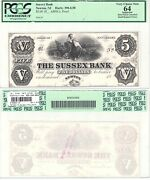 1800and039s 5 Sussex Bank Newton New Jersey Abnco. Proof Pcgs Very Choice New-64