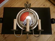 Large Nickel Silver Mirror Art Deco Wall Lamp Old Sconce Empire Eagle Figure