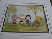 Peanuts Charlie Brown, Linus, Lucy Football Cel Production Background 1975