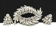 Stunning Sherman Clear Pave Crystals And Rhinestone Rhodium Brooch Earrings Set