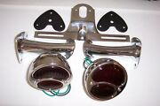1928-1931 Ford Model A Taillight Kit Stainless Lights With Glass Lenses.