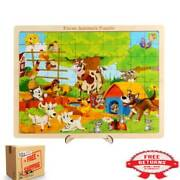 Large Children Early Education Wooden Animal Jigsaw Puzzles Toys Farm Animal