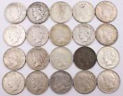 20x Peace Silver Dollars 1922 And 1923 Circulated 20 Coins