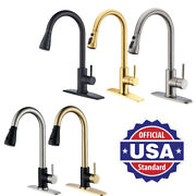 High Arc Kitchen Faucet Pull Out Sprayer Single Level Sink Mixer With Hole Cover