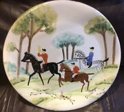 Fox Hunt Hunting Italian Round Warming Plate Or Decanter.