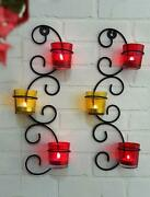 Set Of 2 Wall Hanging Tealight Candle Holder Metal Wall Sconce With Glass Cups