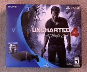"""""""rare"""" Sony Playstation 4 Ps4 Slim 500gb Uncharted 4 Bundle 2 Controllers"""
