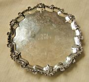 Sterling Silver Tray Salver By Samuel Strahan London 19th Cent 610.9 Grams