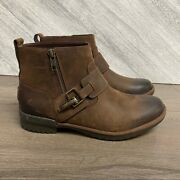 Ugg Womens Cheyne Waterproof Leather Strap Coconut Shell Brown Boots Size 7