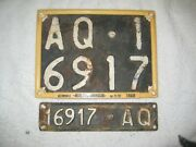 2x Italy L'aquila 1951 Vintage Aq 16917 Rare License Plates ,documents And Frame