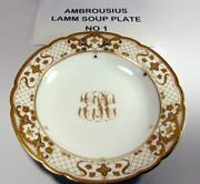 Antique Lamm Dresden China Lmq114 Soup Plate Raised Gold Flowers And Lattice X 8