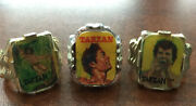 1960s Tarzan Character Gum Ball Machine Prize Flicker Toy Rings - Set Of 3